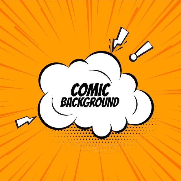 Comic-sprechblasenwolke auf orangefarbenem hintergrund Kostenlosen Vektoren