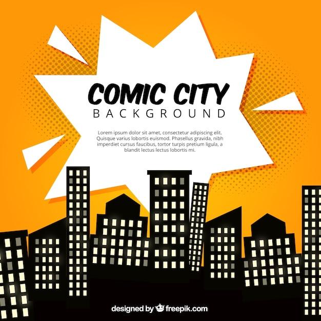 Comic stadt mit silhouetten von gebäuden Kostenlosen Vektoren