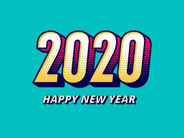 Comic-stil 2020 neujahrsgruß Premium Vektoren