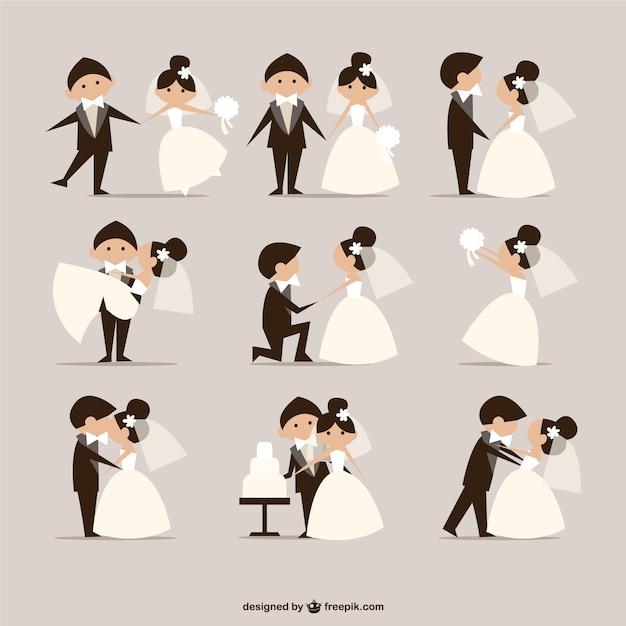 Comic-Stil Hochzeit Elemente Vektor Kostenlose Vektoren