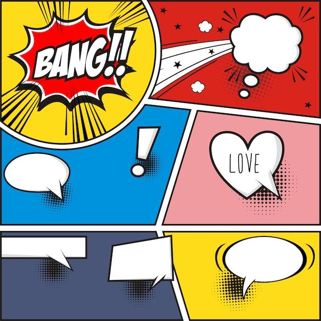 Comic-strip und comic-sprechblasen auf bunten halbton-vektor-illustration Premium Vektoren