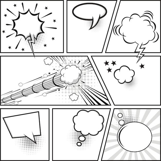 Comic-strip und comic-sprechblasen Premium Vektoren