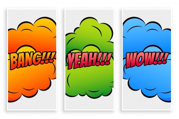 Comic-text-banner mit unterschiedlichen ausdrücken Kostenlosen Vektoren