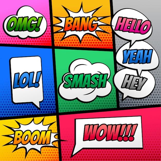 Comic-text-sprachausdruckseffekt auf buchstreifen Kostenlosen Vektoren
