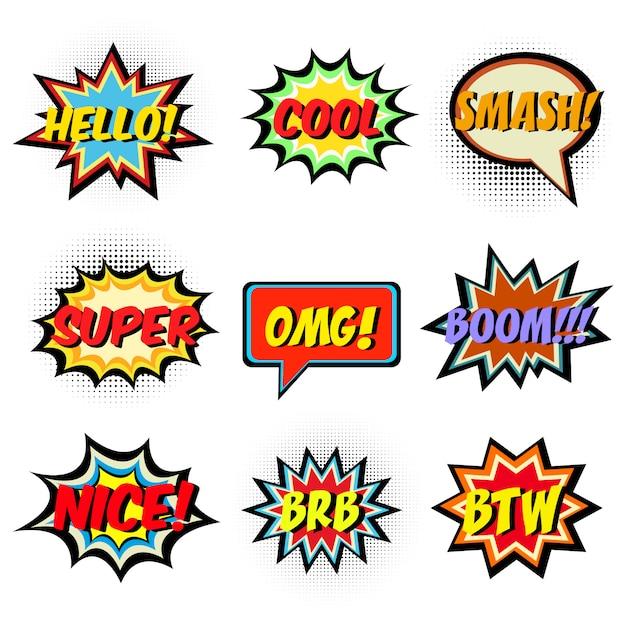 Comic-wörter Premium Vektoren