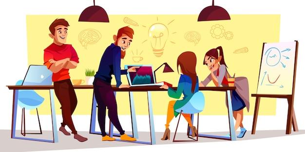 Comicfiguren im coworking center, kreativer raum. freiberufler, designer arbeiten zusammen Kostenlosen Vektoren
