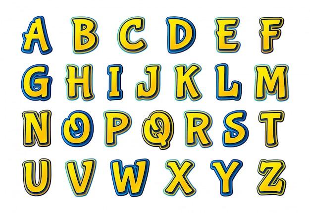 Comics schriftart. cartoonish mehrschichtiges alphabet Premium Vektoren