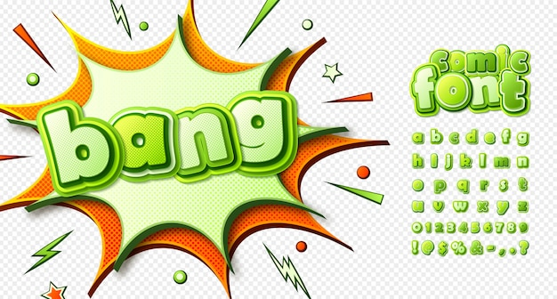 Comics schriftart, lustige kinder alphabet im stil der pop-art. mehrschichtige grüne buchstaben mit halbtoneffekt auf transparenten hintergrund Premium Vektoren