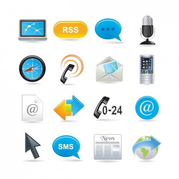 Communication Icon Set Kostenlose Vektoren