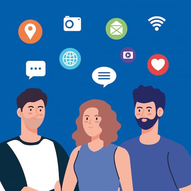 Community für junge menschen und soziale netzwerke, interaktivität, kommunikation und globales konzept Premium Vektoren