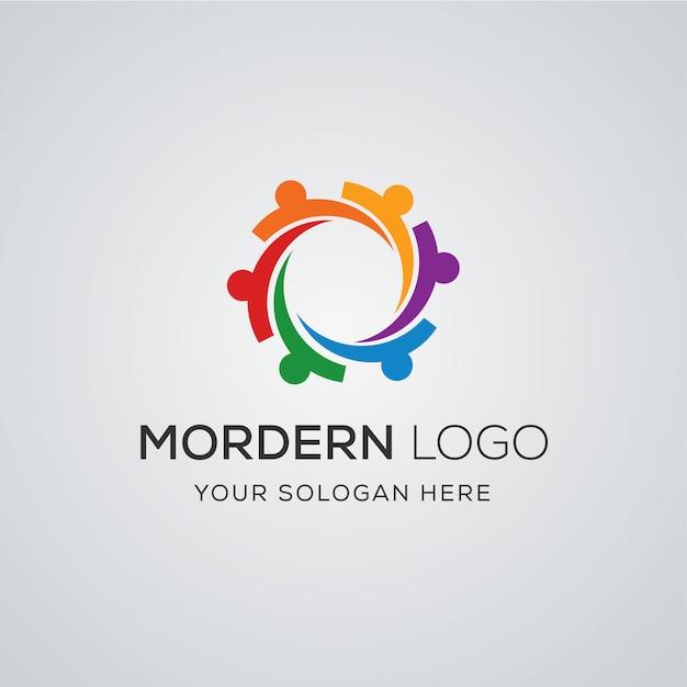 Community-logo Premium Vektoren