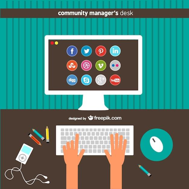 Community-manager schreibtisch Kostenlosen Vektoren