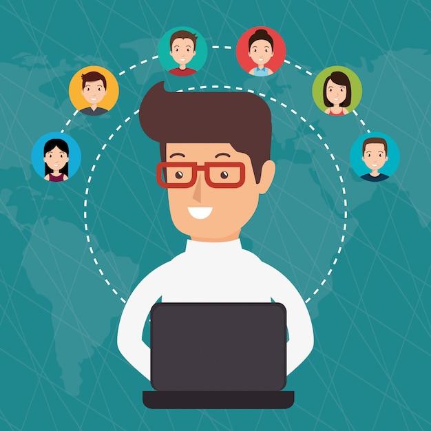 Community social media menschen Kostenlosen Vektoren