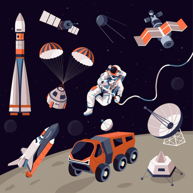 Comos erforschung, maschinen und astronauten im weltraum Premium Vektoren