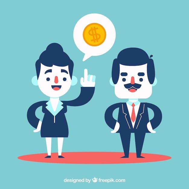 Compañeros de trabajo hablando de economía Kostenlosen Vektoren