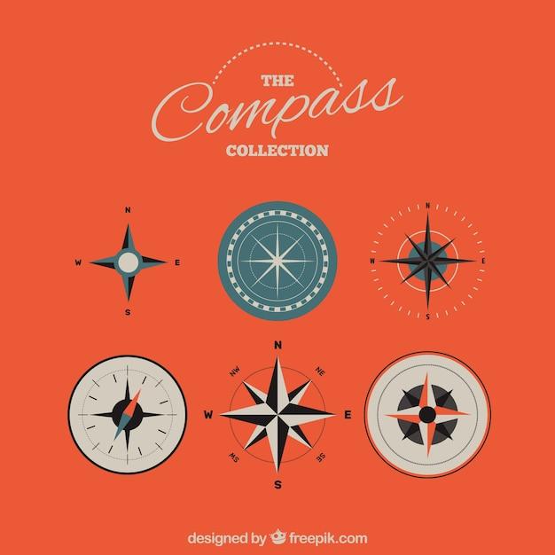 Compass pack im flachen stil Premium Vektoren
