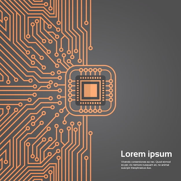 Computer chip moterboard netzwerk data center system konzept banner Premium Vektoren