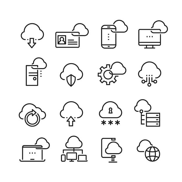 Computer cloud-technologie, datensicherheit, zugang perfektion dünne linie symbole Premium Vektoren