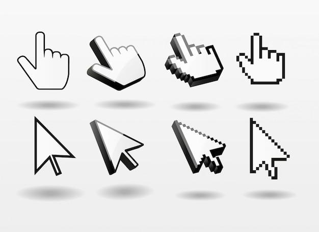 Computer-cursorikonen-fingerpfeilpixel 3d des mauszeigers gesetztes Premium Vektoren