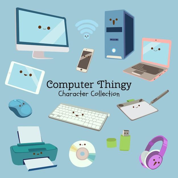 Computer-ding-charakter-sammlung Premium Vektoren