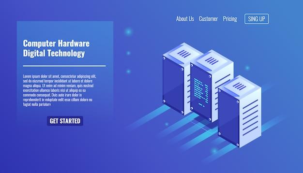 Computer-hardware, serverraum, rack, digitaltechnik, rechenzentrum Kostenlosen Vektoren