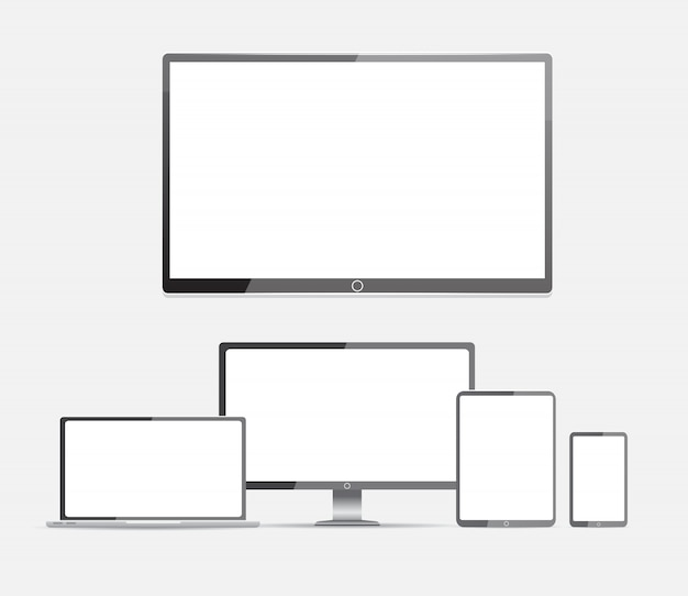 Computer. lcd-monitor, laptop, tablet, handy Premium Vektoren