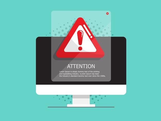 Computer mit aufmerksamkeit, warnzeichen Premium Vektoren