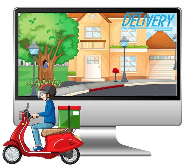 Computer mit fahrradmann oder kurier und lieferlogo Kostenlosen Vektoren