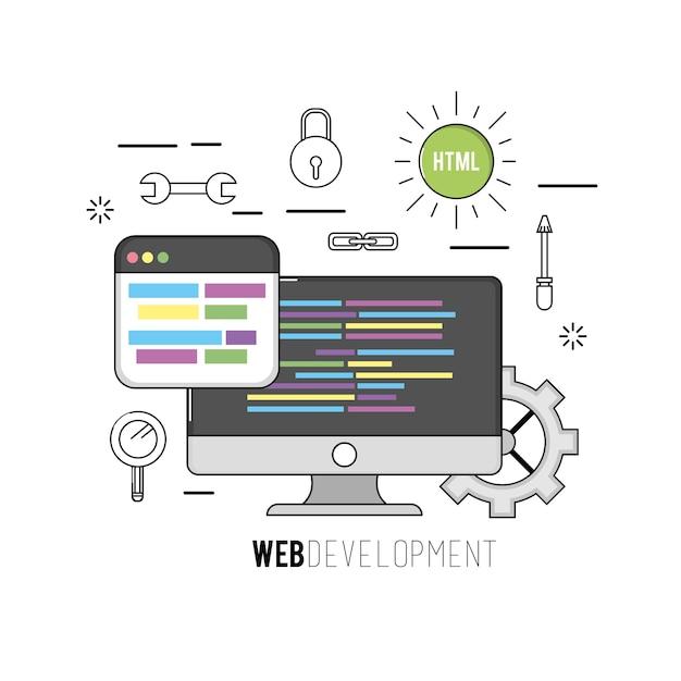 Computer mit programmcode-softwaredaten Premium Vektoren