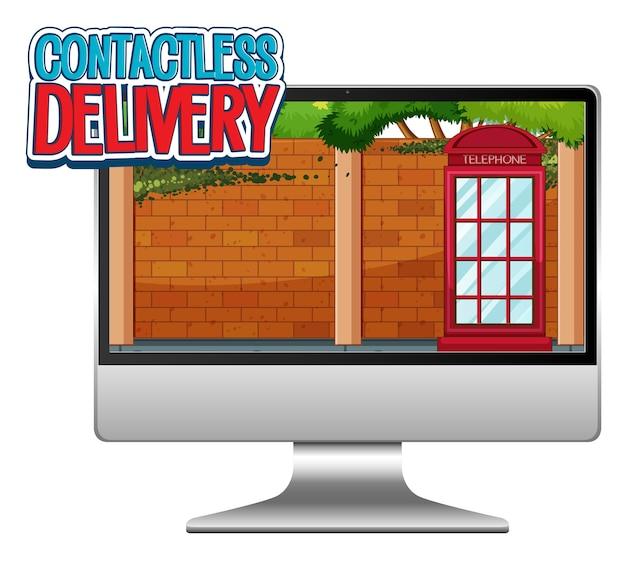 Computer mit schnellem und kontaktlosem logo Kostenlosen Vektoren