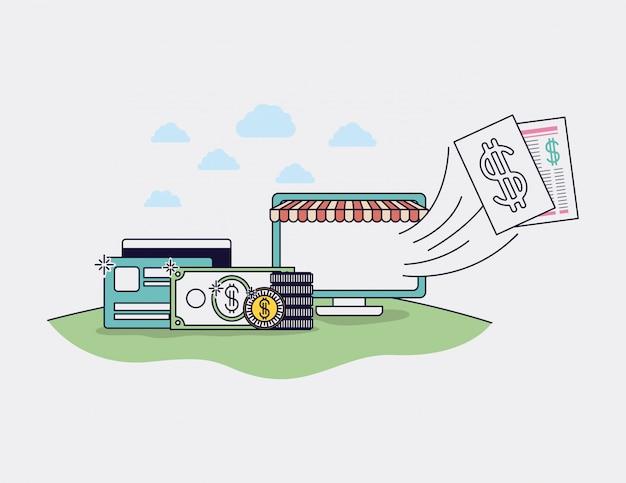 Computer mit Sonnenschirm- und E-Commerce-Ikonenvektorillustrationsdesign Premium Vektoren