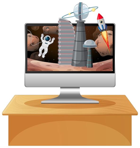 Computer mit weltraumszene Premium Vektoren