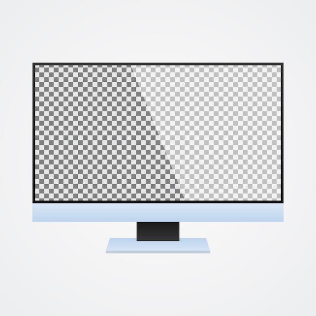 Computer-monitor-spott oben mit transparentem schirm auf weiß Premium Vektoren