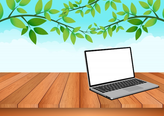 Computer notebook ist auf einem holzboden mit natürlichem himmel und laub gelegt Premium Vektoren