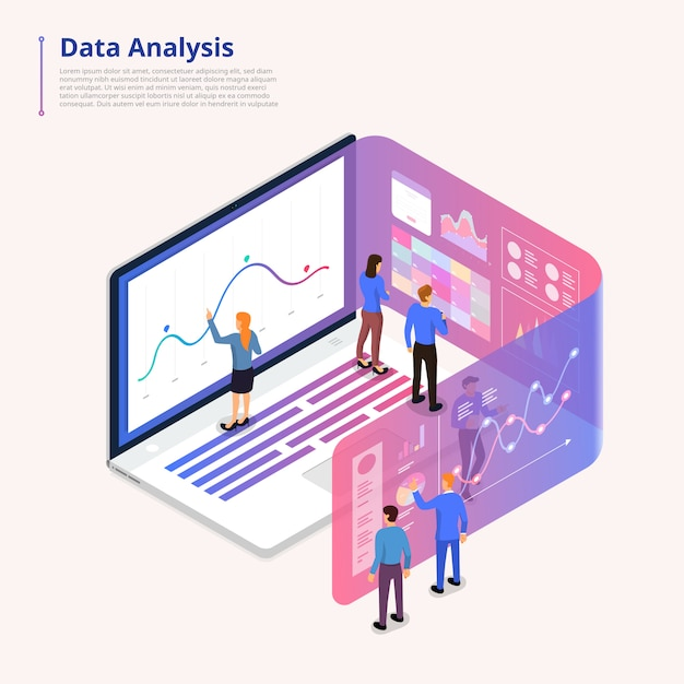 Computer-plattform des illustrationskonzeptdatenanalyse-tools. Premium Vektoren
