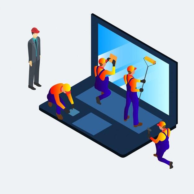Computer service isometrische 3d-banner für web, social media und mobile. Premium Vektoren