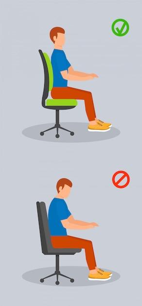 Computer sitzen position, flachen stil Premium Vektoren
