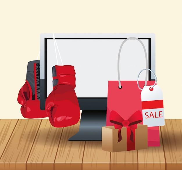 Computer und boxhandschuhe und einkaufstasche über hölzernem und weißem Premium Vektoren