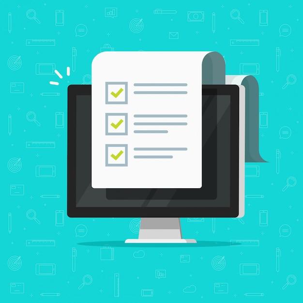 Computer und checkliste oder zur flachen karikatur der fo-liste Premium Vektoren