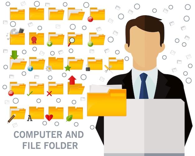 Computer- und dateiordner-konzepthintergrund. flache symbole. Premium Vektoren