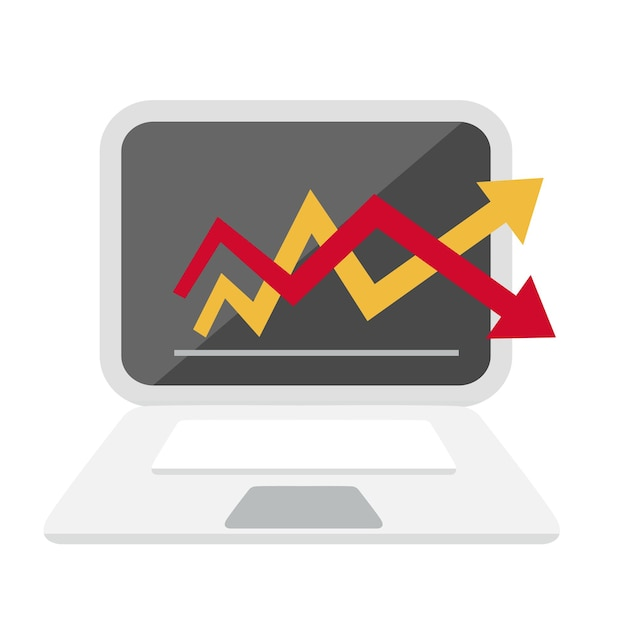 Computer- und diagrammdiagramm-symbolillustration Premium Vektoren