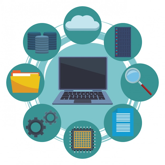 Computer- und informatikartikel Premium Vektoren