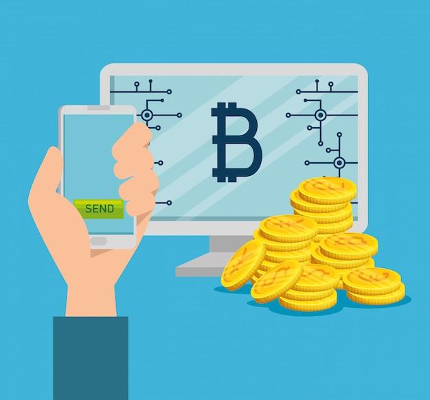 Computer und smartphone mit bitcoin Kostenlosen Vektoren