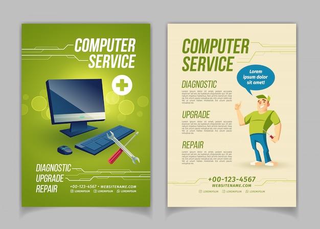 Computer warten, aktualisieren und reparieren service-karikatur Kostenlosen Vektoren