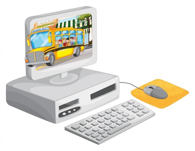 Computerbildschirm mit kindern im schulbus Kostenlosen Vektoren