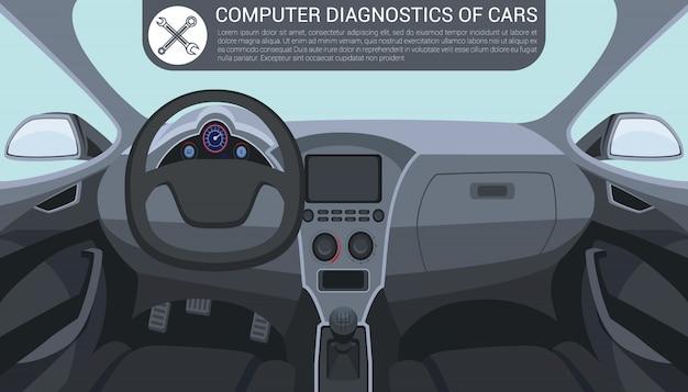 Computerdiagnose des autos. autoinnenraum nach innen. Premium Vektoren