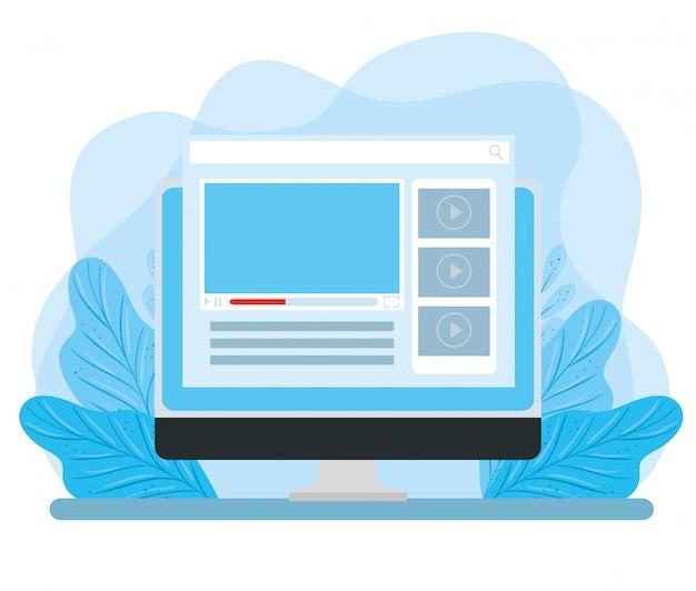 Computermonitor mit webseite und blattdekoration illustrationsdesign Kostenlosen Vektoren