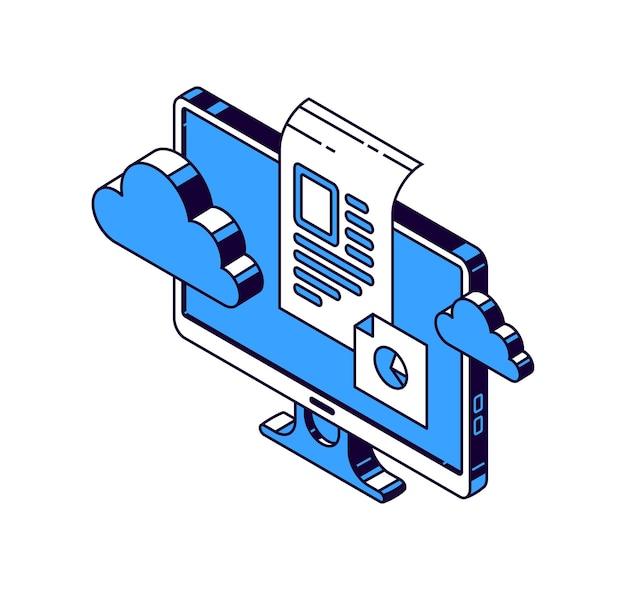 Computermonitor, virtuelle wolke und dokumente mit informationen, isometrische vektorsymbole Kostenlosen Vektoren