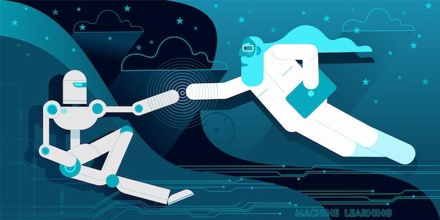 Computerprogrammierer als der schöpfer des roboters adam. Premium Vektoren