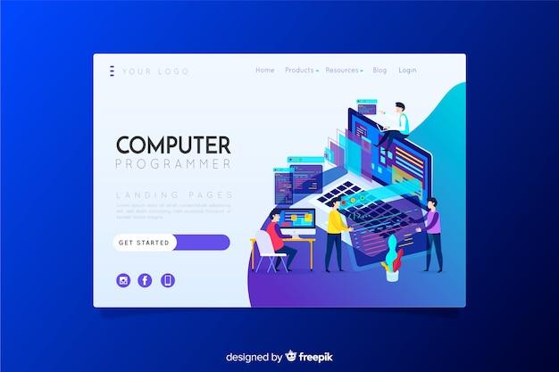 Computerprogrammierer-zielseite Kostenlosen Vektoren